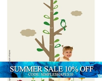 SALE Today ONLY!  Use Coupon Code SIMPLESHAPES10 for 10% off - Kids Growth Chart Tree DELUXE with Flowers Decal - Childrens Vinyl Wall Decal