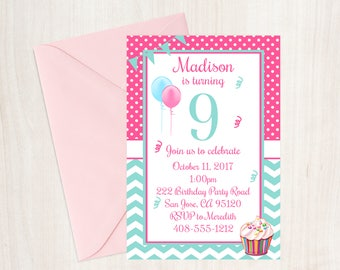9th Birthday Party Invitation, 9th Birthday, Ninth Birthday Invitation, Girls Birthday Invitation, Cupcake Birthday Invitation