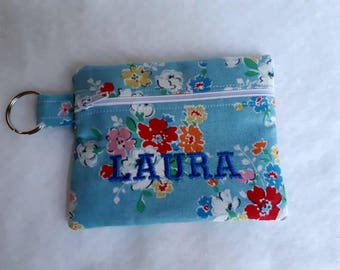 Personalised CATH KIDSTON Clifton Rose fabric Zippered (Zipped) Earphone (Ear bud) pouch/ Coin Purse Make Up, small brushes, Gift Keyring