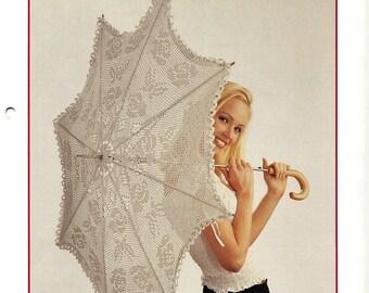 Instant PDF Digital Download Vintage Chart Crochet Pattern to make a Ladies Filet Cotton Lace 8 Rib Parasol Umbrella Cover Floral Motifs