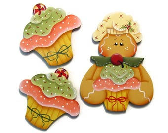 Gingerbread or CupCake Ornament or Fridge Magnet, Handpainted Wood Refrigerator Magnet, Hand Painted Ginger, Tole Decorative Painting