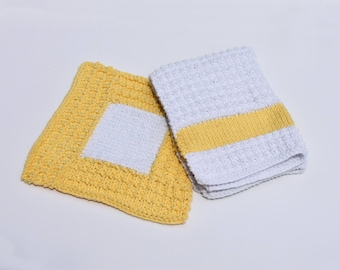 Thirsty Yellow and White Cotton Kitchen Towel and Dishcloth (2 piece set)