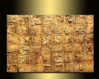 Rich Texture Gold  Metallic Abstract Canvas Art Painting by Henry Parsinia Large 36x24