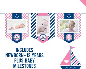 INSTANT DOWNLOAD Pink Nautical Party - DIY printable photo banner kit - Includes Newborn through 12 Years, Plus Baby Milestones