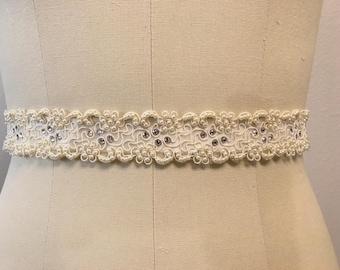 "Wedding Ivory Corded Organza with Pearls and Swarovski Crystal Jacquard Ribbon Sash 1.25"" Wide"