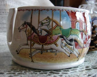 Carousel, Merry-Go-Round! Ceramic Yarn Bowl / Yarn Holder