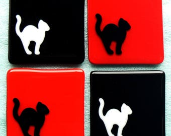 Red and Black Cat Coasters