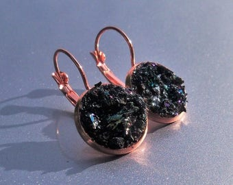25% Off Sale Carborundum Crater Copper Druzy French Earrings