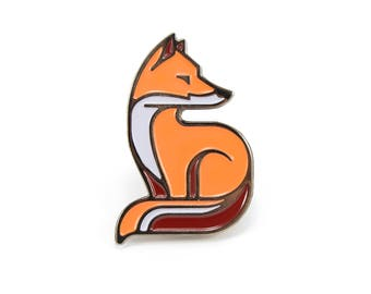 Fox - Soft Enamel Pin w/ Black Rubber Pin Clutch