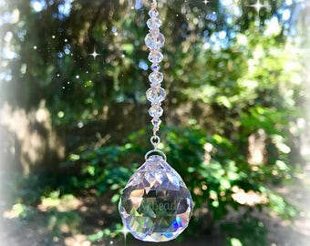 Hanging Crystal Ball Suncatcher Prism, Rearview Mirror Car Charm, Light Catcher Window Ornament, Unique Beaded Rainbow Maker
