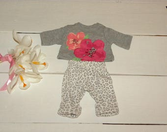 Grey Tshirt  and Patterned Pants - 12 inch doll clothes