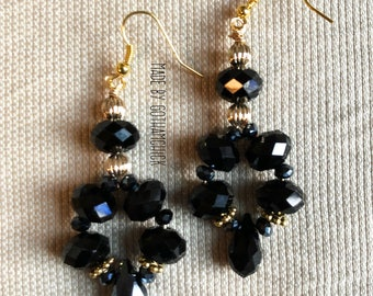 Lady in Black crystal shimmer earrings
