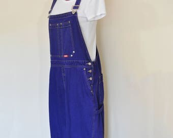 Purple XL Bib OVERALL Capri Pants - Violet Dyed Upcycled Vintage Ethyl Denim Overall - Adult Womens Size Extra Large (40 W x 21 L)