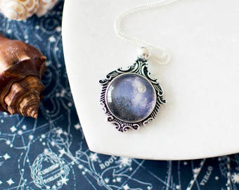 Moon Above the Trees Necklace. Silver Moon Necklace. Moon Pendant. Moon Jewelry. Nature Inspired Jewelry. Mystical Forest.