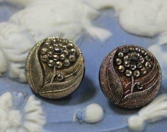 Silver Lustre Black Glass Buttons 2 Flower Silver Lustre and Black Glass Brass Shank Buttons