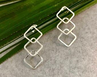Triple Silver Diamond Post Earrings