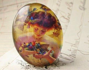 Angel with birds in her hair, handmade 40x30 40x30mm 30x40mm woman glass oval cabochon, blue, orange, yellow, Art Nouveau collection