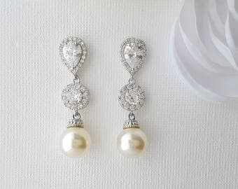 Bridal Earrings, Wedding Pearl Earrings, Swarovski Pearl Drop Earrings, Crystal Wedding Earrings, Bridal Pearl Jewelry, Alena