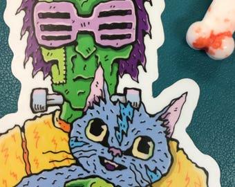 Frankenstein's 80s Monster & Cat Vinyl Sticker