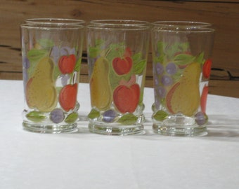 Set of 6 Vintage Hand Painted 14 Oz. Tumblers with Weighted Bottoms