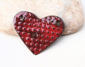 pendentif plastron cœur xxl - céramique loisirs créatifs DIY - fait main - rouge, fournitures artisanales, printemps