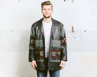 Men Aztec Fleece Coat . Southwestern Wool Jacket Dark Winter Outerwear Vintage Mens 80s Navajo Oversized Jacket . size Large