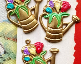 1 Vintage Water Can charm,Flower pot charm, garden charm,floral charms, vintage findings, Tulips, Garden Club Pendant, #1029S