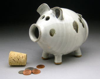 Ceramic Piggy Bank - White with Black Spots - In Stock and Ready to Ship