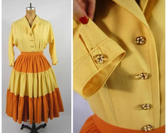 Early 1950s Yellow and Orange Patio Set - Silk and Wool - Art Glass buttons // Gypsy Skirt - Gathered - Pleated Skirt and Blouse Set 50s