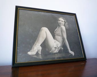 Vintage Pin Up Girl Black and White Sepia Photography in Frame