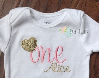 Pink and Gold First Birthday - Pink and Gold First Birthday Outfit - Girls First Birthday Outfit - Gold Birthday