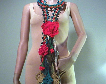FLOWER FANTASY NECKPIECE - Wearable Fiber Art Jewelry, Skinny Extra Long Necklace/Scarf/Lariat, Detachable Flower Brooch, Freeform Crocheted