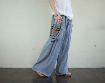 Look At Me Now...Simply Wide Legs Blue Gray Cotton Pants With Floral Hand Embroidered Detail On Right Pocket