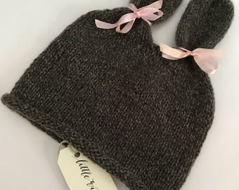 Cashmere Bunny Hat - size 6-12 months