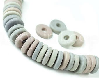 25%OFF Mykonos beads round washer 8mm Mixed Pastel Colors Spacers Flat Round Washers Disk Greek Ceramic bead pink blue grey Assortment 20Pcs