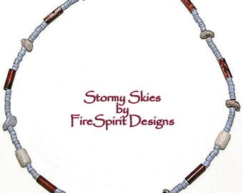 Stormy Skies- handmade jewelry- handmade necklace- choker neckace- teen necklace- OOAK necklace- artisan necklace- gift for her- trade beads