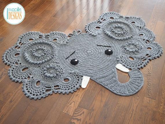 CROCHET PATTERN Josefina And Jeffery Elephant Rug Nursery Mat Carpet PDF  Crochet Pattern With Instant Download