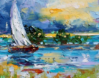 Sailing into the Sunrise painting original oil abstract impressionism fine art impasto on canvas by Karen Tarlton