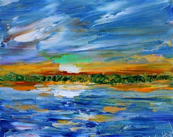 Green Flash at Sunset painting original oil 6x6 palette knife impressionism on canvas fine art by Karen Tarlton