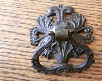 one lg antique cast brass ring pull