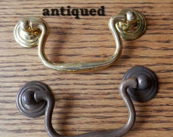 """2""""~ 2 1/2"""" ~ 2.5"""" ~3"""" ~ 3 1/2"""", 3.5"""" centers cast solid brass drawer pull bail, polished or antique brass finish"""