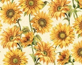 SALE Follow the Sun Large Packed Sunflowers Cream - Sunflower Fabric - Wilmington Prints 86429-157 - 1 Yard Cut BTY