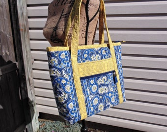 Zippered Tote Bag, Large Tote, Women's Purse with Pockets, Shoulder bag