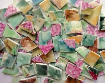 125 Pink, Mint, Emerald Green Vintage China Tiles//Broken Dish Mosaic Tiles//Mosaic Supplies//Mosaic