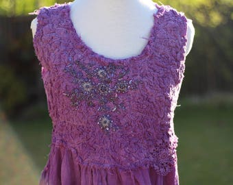 Purple boho dress violet gypsy dress, purple festival maxi dress, plum beaded lace unconventional dress, rustic shabby chic tattered hippy