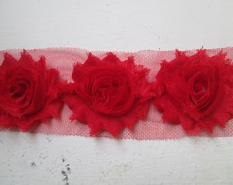Red Shabby Flowers, Red Chiffon Rose Trim, Red Wedding Flower Supplies, DIY Fabric Flowers for Jewelry, Bridal Garters, Headband