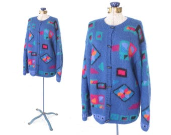 80s Mohair Sweater * Vintage Fuzzy Knit Sweater * Geometric Cardigan Sweater * Medium