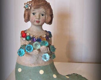 Mermaid art doll sculpture - papier mache- folk art