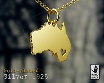 AUSTRALIA Map Handmade Personalized Goldplated Sterling Silver .925 Necklace in a gift box