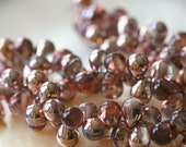 6x8mm Teardrop Beads Czech Glass Tear Drops - Jewelry Making Supplies - Apollo Gold (50 pieces) 8x6mm Drop